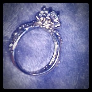 Sterling silver white gold sapphire ring